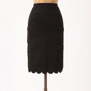 Anthropologie Maeve Scalloped Black Pencil Skirt